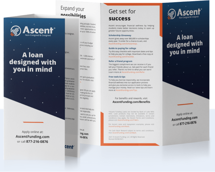 Ascent brochure for loans for colleges